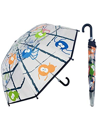 Rainstoppers Children's Spider Print, Clear Umbrella