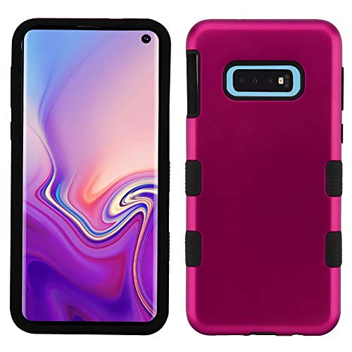 TUFF Hybrid Series Compatible with Samsung Galaxy S10e, Military Grade Drop Tested Protector Phone Case and Atom Cloth - Magenta Hot Pink