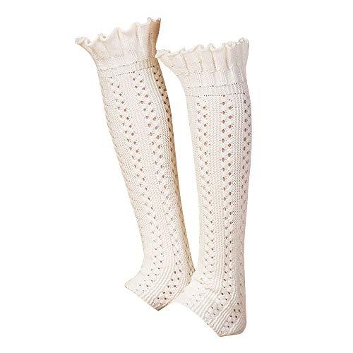 Van Caro Womens Knee High Cable Knit Crochet Lace Leg Warmers Long Socks, White