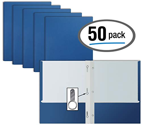 Blue Paper 2 Pocket Folders with Prongs, 50 Pack, by Better Office Products, Matte Texture, Letter Size Paper Folders, 50 Pack, with 3 Metal Prong Fastener Clips, Blue ()