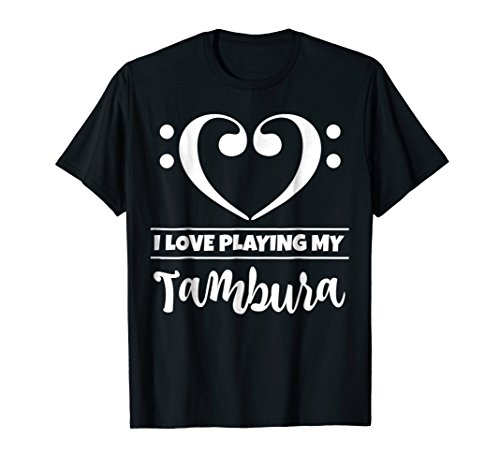 Double Bass Clef Heart I Love Playing My Tambura T-Shirt