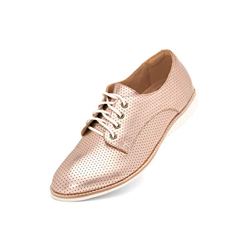 Rollie Women's Derby Pin Punch Rose Gold, Lace Up Leather Oxfords Metallic Flat Shoes for Women with Laces, Size 7 US / 38 ()