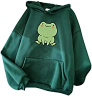 QUANLIAN Cute Hoodies for Women Funny Frog Graphic Pullover Tops Casual Loose Fit Hooded Sweatshirts with Pock