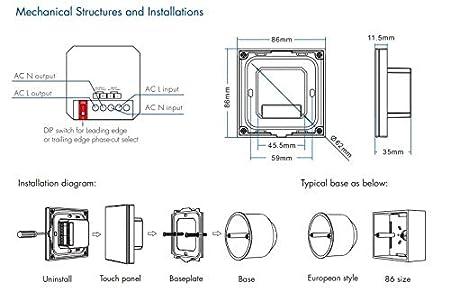 Funkdimmer + Fernbedienung Funk-Dimmer 230V elektronischer Dimmeinsatz kompatibel mit Tastschalter TRIAC universell einstellbar f/ür LED mit Phasenan- oder Phasenabschnitt