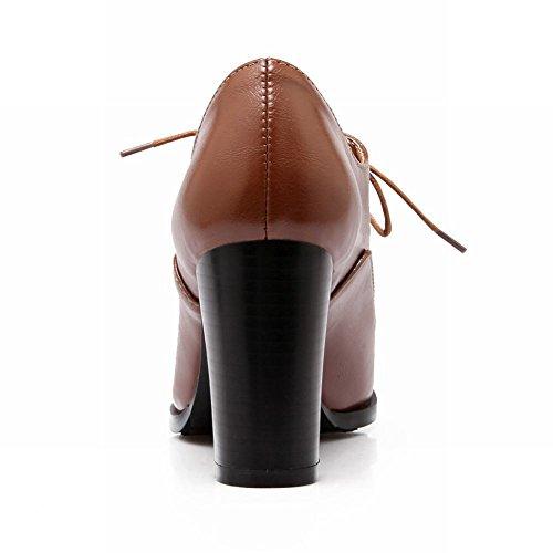 Scarpe Da Donna Retrò Scarpe Stringate Eleganti Con Tacco Alto A Punta Lacci Marrone