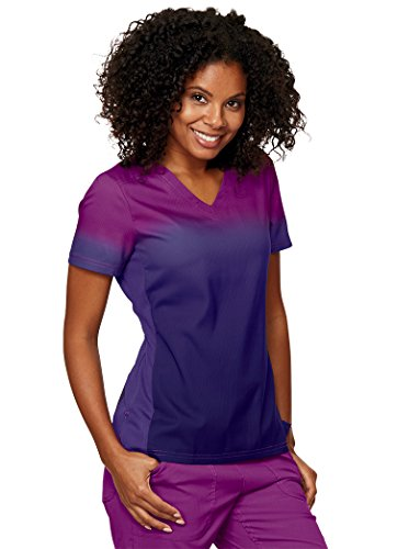 KOI Lite Women's Reform Ombre V-Neck Scrub Top- Mulberry/Grape- ()