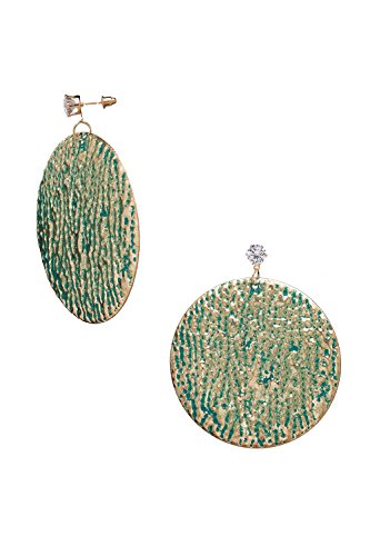 Disc Drop Earrings Dangle Charms Oversized Textured Thin Metal Pierced Ear Studs (Iris Green, (Textured Disc Earrings)