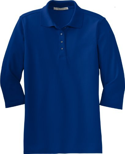 port-authority-womens-silk-touch-3-4-sleeve-sport-shirt-royal-large