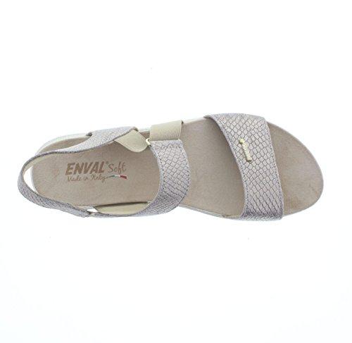 mujer plateado de vestir de ENVAL plateado beige Piel para SOFT 500 Sandalias qw84A40