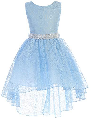 (BNY Corner Big Girl High Low Floral Lace Rhinestones Pearl Belt Easter Pageant Flower Girl Dress Light Blue 8)