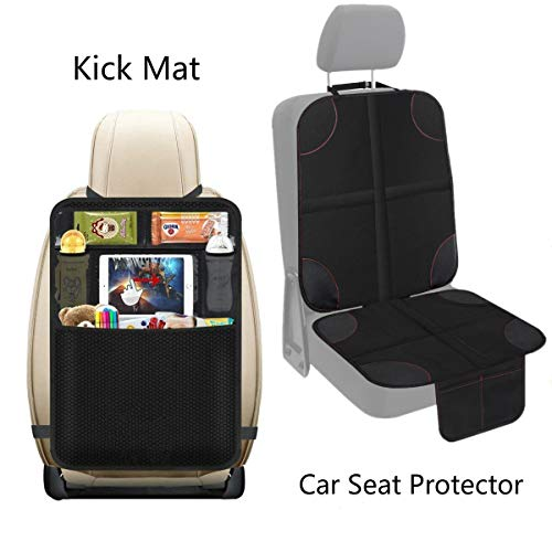 Set Back Upholstery (UMJWYJ 1 Set Car Seat Protector&Back Seat Car Organiser,Protects Car Upholstery from Child Seats,Plastic Pockets Size up to 10.5