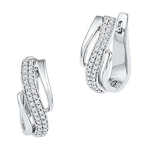 Diagonal Hoop (10kt White Gold Womens Round Diamond Diagonal Double Row Hoop Earrings 1/4 Cttw)