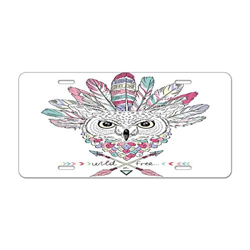 (Mugod Owl License Plate Native American Poster with Indian Owl in War Bonnet Decorative Car License Plate Cover with 4 Holes Car Tags 6