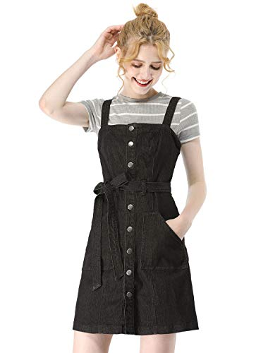 Allegra K Women's Classic Adjustable Strap A-Line Overall Denim Dress S Black