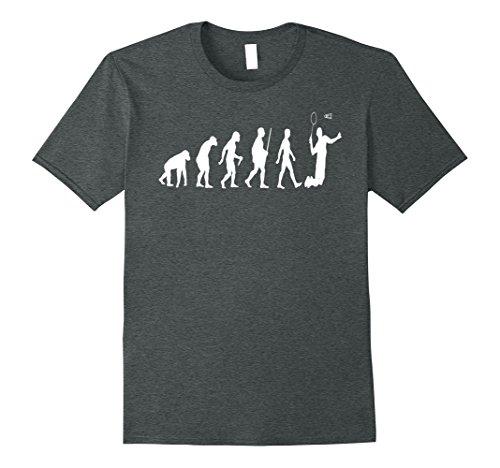 Mens Badminton Shirt Badminton Evolution of Badminton T Shirt Medium Dark Heather