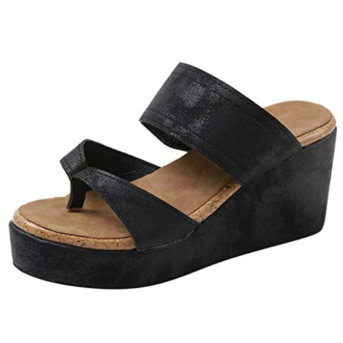Bohelly Hot Women's Open Toe Breathable Beach Large Size Sandals Roman Flip Flops Casual Wedges Slippers -