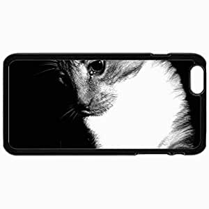 Customized Cellphone Case Back Cover For iPhone 6 Plus, Protective Hardshell Case Personalized Black And White Cat Black