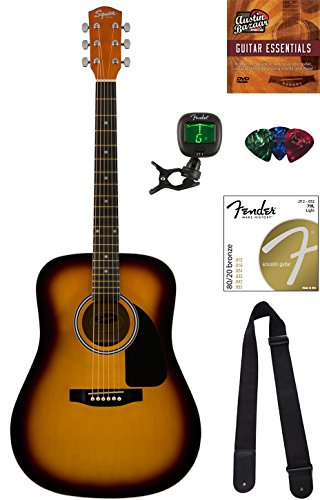 Squier by Fender SA-150 Dreadnought Acoustic Guitar - Sunburst Bundle with Tuner, Strap, Strings, Picks, Austin Bazaar Instructional DVD, and Polishing Cloth (Fender Acoustic Straps Guitar)