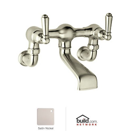 Wall Rowe Exposed (Rohl U.3515L-STN A1482Pn Perrin and Rowe Collection Exposed Wall Mounted Tub Filler with Lever Handles, Satin)