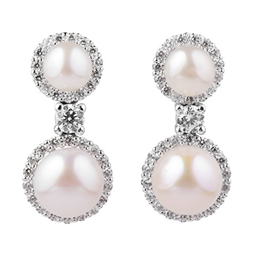 blackbox Jewelry Sterling Silver Double White Cubic Zirconia Simulated Shell Pearl Drop Stud Earrings ()
