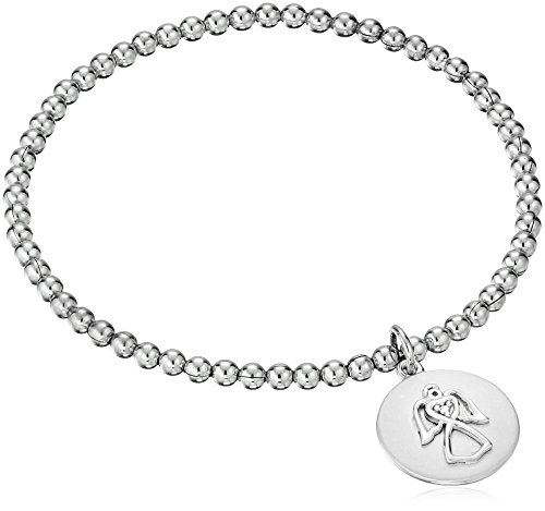 Sterling Silver Diamond Accent ''Guardian Angel'' Stretch Bead Charm Bracelet by Amazon Collection (Image #1)
