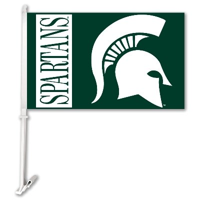 NCAA Michigan State Spartans Car Flag with Free Wall Bracket