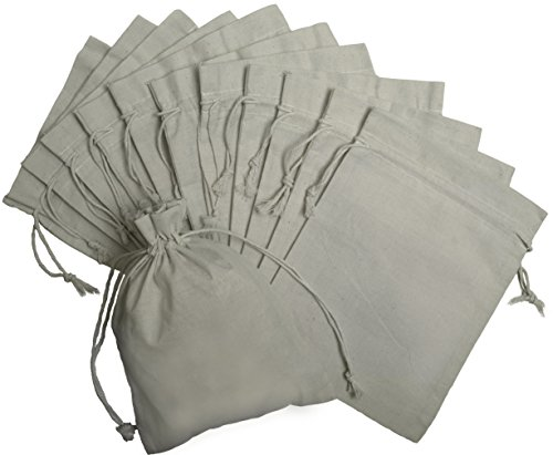 100 Percent Cotton Muslin Drawstring Bags 12-Pack For Storage Pantry Gifts (9 x 12 inch, White) -
