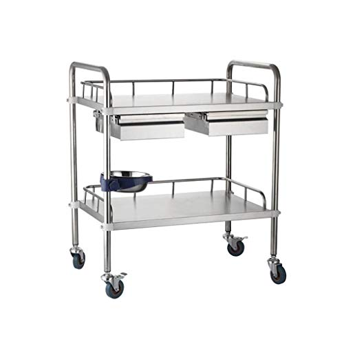 - Trolley Medical Stainless Steel Medical Surgical Vehicle/Changing Vehicle Instrument Car/Double Layer with Drawer Beauty Car Utility Vehicle