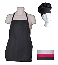 Kids Chef Hat and Kids Apron Set - Adjustable Hat - Fits Childs Size Medium 6-12 (Black)