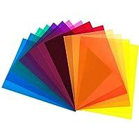 DECARETA 14pcs Filtros de Colores Transparentes Gelatinas Fotográficas superpuestas A4 Filtro de Gel de Corrección…