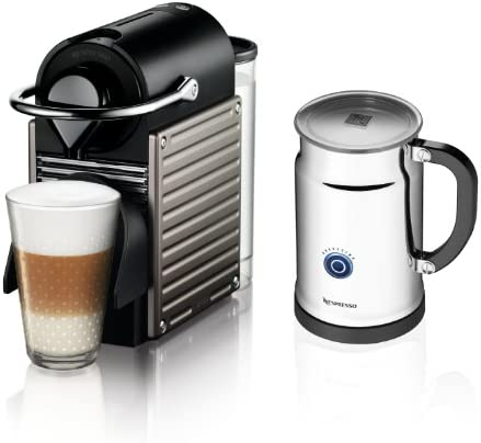 Nespresso Pixie Espresso Maker With Aeroccino Plus Milk Frother, Electric Titan Discontinued Model