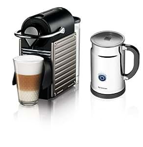 Nespresso Pixie Espresso Maker With Aeroccino Plus Milk Frother, Electric Titan (Discontinued Model)