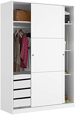 HABITMOBEL Armario Oficina 2 Puertas con Percha y Cajonera en Blanco Brillo, Dimensiones: 200 x 120 x 50cm: Amazon.es: Hogar