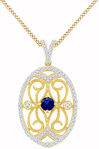 Simulated Sapphire & White Natural Diamond Oval Frame Pendant Necklace in 14k Solid Yellow Gold (0.57 Cttw) (Frame Yg 14k)