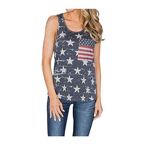 Moscare Womens American Flag Tank Tops 4th of July Loose Sleeveless Camo Bowknot Stripes Patriotic T Shirts XL