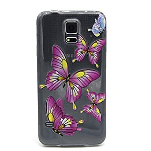 DD 20150511 Butterfly Pattern Transparent Painted Relief TPU Material Phone Shell for Samsung S5 I9600