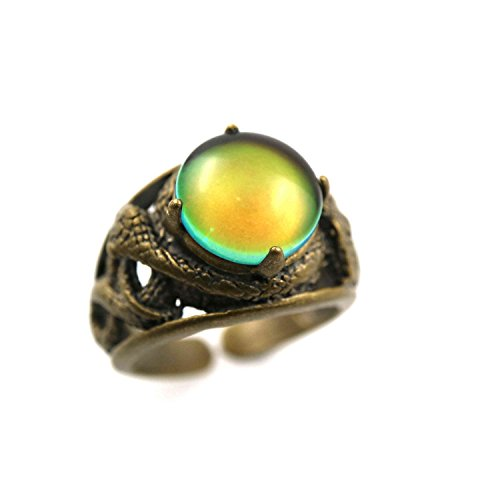 Ms.Iconic Vintage Style Round Cabochon Bronze Snake Color Change Mood Ring Adjustable Emotion Ring ()