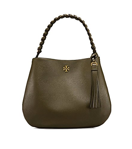 Tory Burch Brooke Leather Hobo Shoulder Bag (Leccio) by Tory Burch