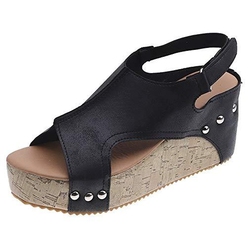 Women's Cutout Belt Wedges Sandals Platform Faux Leather Cork High Heels(Black-Lable 37/6.5 B(M) US Women)
