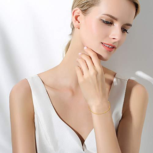 SISGEM 18K Gold Bracelet for Women, Bead Ball Dainty Chain Bracelets Fine Jewelry (Yellow Gold) by SISGEM (Image #2)