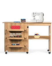 Giantex Folding Sewing Craft Table, Sewing Craft Cart with Storage Shelves and Lockable Casters Folding Sewing Table for Apartment Small Spaces