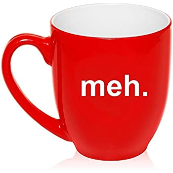 16 oz Large Bistro Mug Ceramic Coffee Tea Glass Cup Meh Geek Sarcastic Expression (Red)