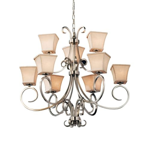 2 Tier Chandelier Square Shades (Justice Design Group Lighting FAB-8577-40-CREM-NCKL Textile Victoria 9-Light 2-Tier Chandelier Square Flared Brushed Nickel Finish and Cream Fabric Shade)