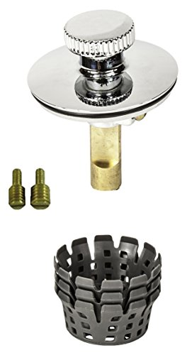 TubSTRAIN Universal Lift n Turn (Twist Close) Bath Tub/Bathtub Drain Stopper includes 3/8 and 5/16 Fittings with Hair Catchers/Strainers (3 Nos) to Eliminate Drain Clogs;Chrome; PF0951-CH-LT-S