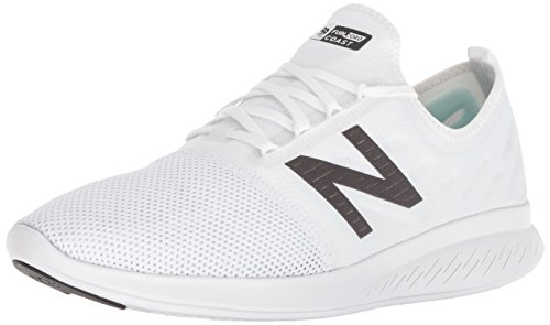- New Balance Men's Coast V4 FuelCore Running Shoe, White/Black, 11 4E US