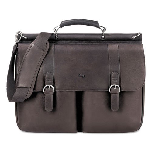 Solo Executive Leather Dowel Briefcase, Espresso, 16