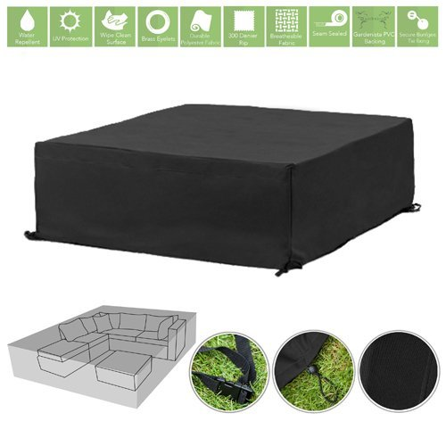 Gardenista Black Water Resistant Outdoor Furniture Cover Protector for Corner Sofa Group