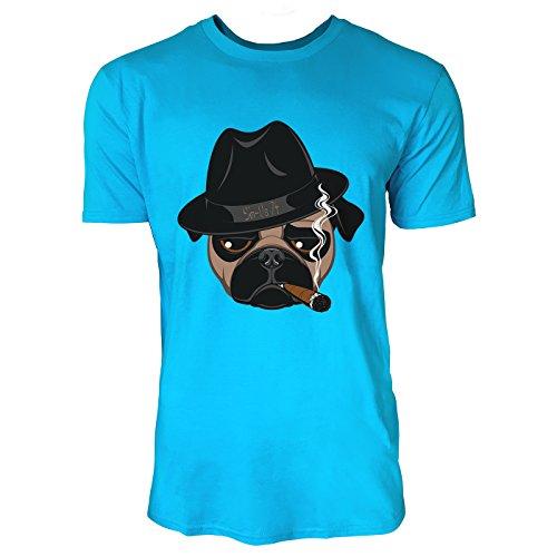SINUS ART® Lustige Bulldogge mit Melone und Zigarre Herren T-Shirts in Karibik blau Cooles Fun Shirt mit tollen Aufdruck
