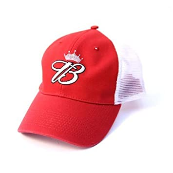 6d18bb17a9214 Budweiser Game Time Adjustable Red   White Mesh Back Trucker Hat   Amazon.co.uk  Sports   Outdoors