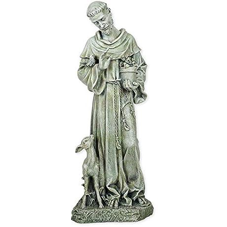 Roman St Francis Resin Stoneware Statue 18 X 10 X 8 Inches